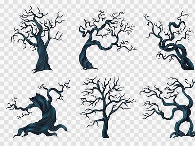 Spooky trees transparent set nightmare branch spooky halloween tree flat vector illustration