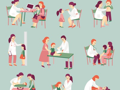 Doctor pediatrician icons set diagnose patient clinic healthcare doctor flat vector illustration