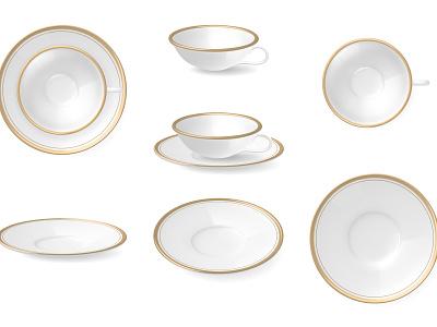 Plates dishware set ceramic tableware kitchenware utensil plate realistic vector illustration