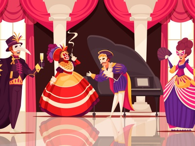 Venetian carnivan illustration masquerade people costume carnival venetian cartoon vector illustration