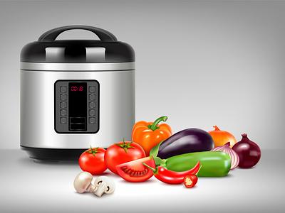 Multicooker composition household domestic kitchenware multicooker realistic vector illustration