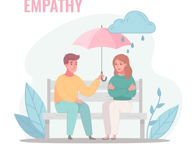 Empathy characters composition together character emotion relationship cartoon vector illustration