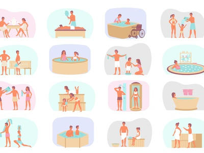 Water procedures compositions hygiene treatment relaxation leisure healthcare flat vector illustration