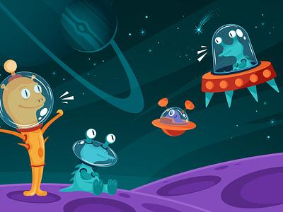 Aliens space image spacecraft universe galaxy alien space cartoon vector illustration