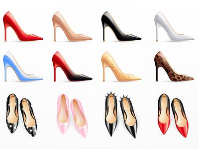 Classic modern women shoes set footwear trendy shoe shopping female realistic vector illustration