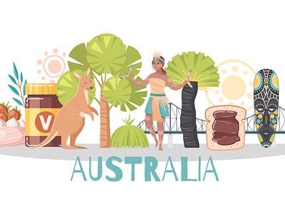 Australia composition landmark geography countryside australia cartoon vector illustration