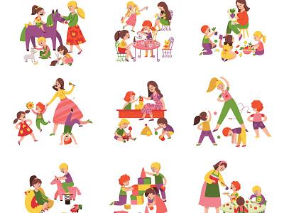 Kindergarten set childhood together knowledge leisure kindergarten flat vector illustration