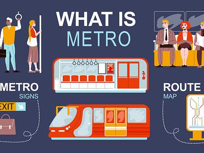 Metro infographics transportation passenger underground metropolitan flat vector illustration