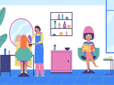 Hairdressing salon composition haircut customer barbershop hairdressing flat vector illustration