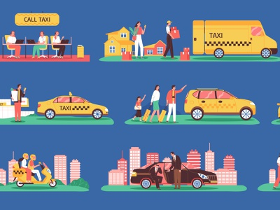 Taxi and clients set urban traffic clients vehicle transportation flat vector illustration