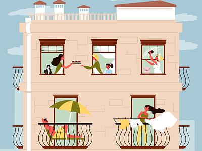 Neighbours in windows facade people relaxing balcony neighbour flat vector illustration