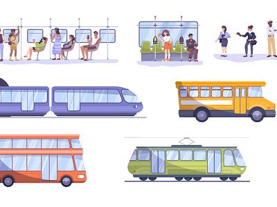 Public transport set people passenger public transportation flat vector illustration