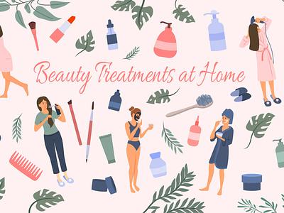 Beauty treatments at home domestic everyday hygiene dermatology treatment flat vector illustration