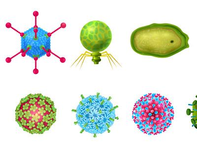 Viruses icons set epidemics healthcare medicine viruses realistic vector illustration