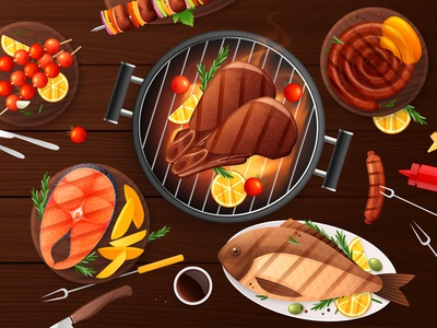BBQ party composition picnic meat vegetable cooking food flat vector illustration