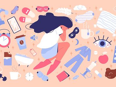 Healthy sleep poses set bedtime relaxing healthy night poses sleep flat vector illustration