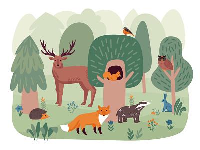 Forest animals composition woodland plant wildlife animal forest flat vector illustration