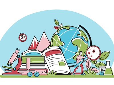 School education composition knowledge science school education flat vector illustration