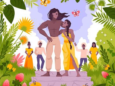 Mowgli coloring set landscape tropical mowgli jungle flat vector illustration