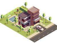 Suburban residential buildings with backyard