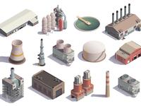 Isometric industrial buildings set