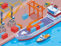 Seaport isometric composition
