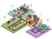 Suburbian buildings isometric composition
