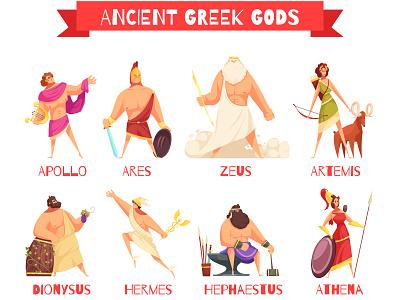 Ancient greek gods greek gods ancient cartoon vector illustration