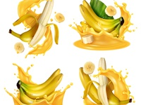 Realistic banana fruits and juice