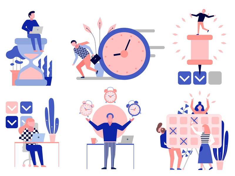 Effective Time Management Set By Macrovector On Dribbble