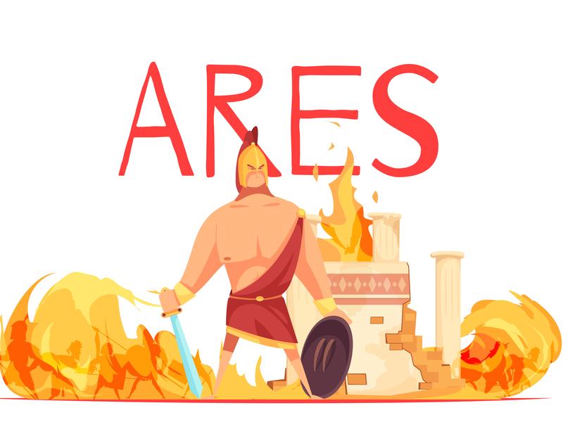 Ancient greece god of war ancient greece god of war cartoon vector illustration