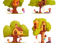 Tree houses with children