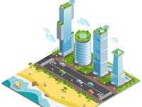 Futuristic skyscrapers composition