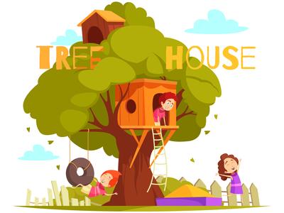 Tree house between foliage