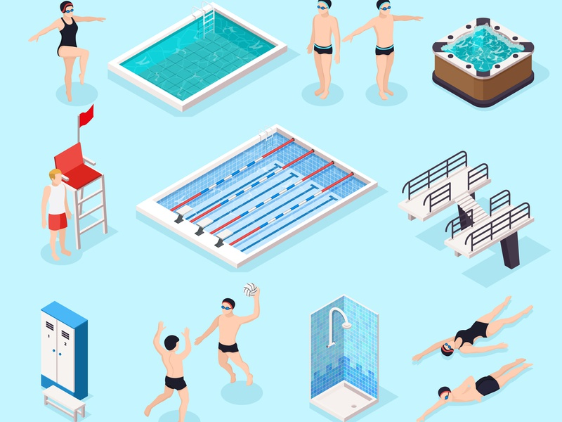 Swimming pool set equipment swimming pool isometric vector illustration