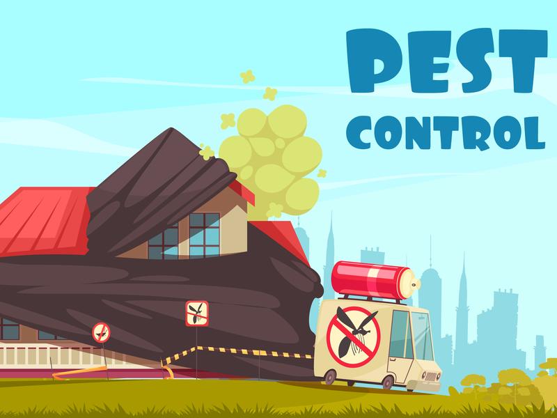 Pest control outside control pest cartoon vector illustration
