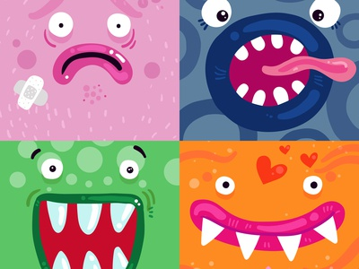 Funny monsters concept