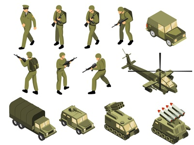 Military vehicles soldiers set