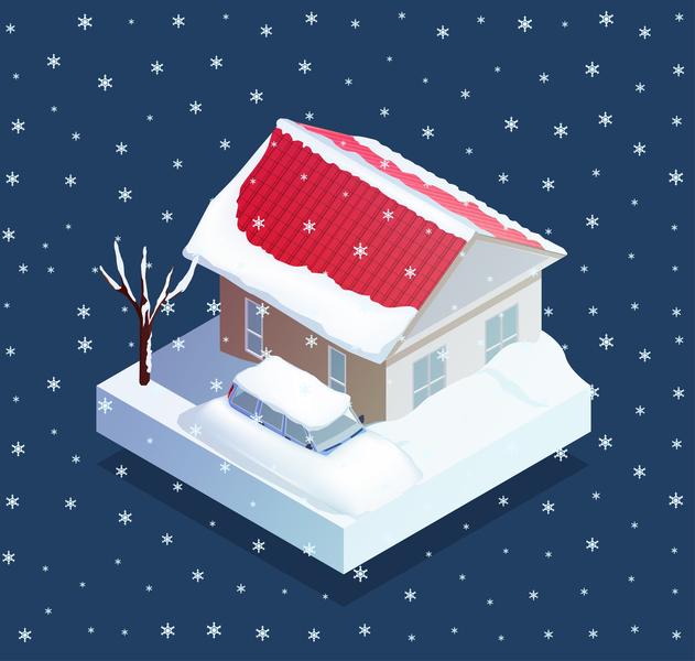 Natural snow disaster disaster snowfall isometric vector illustration