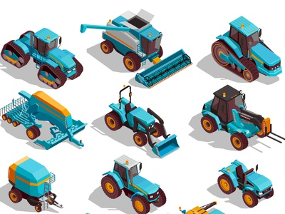 Agricultural machines icons