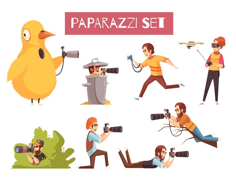 Paparazzi photographers icons cameras photographers paparazzi cartoon vector illustration