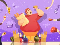 Gluttony leading to obesity poster