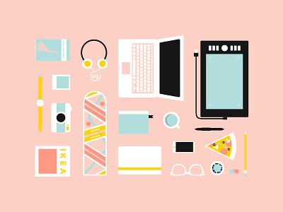 Gpoy millenial pink flat design yellow blue pink flat illustration