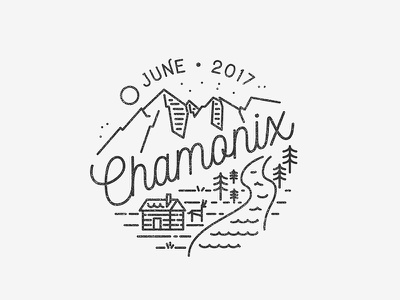 Chamonix distressed logo logo design monoline lineart line illustration mountain chamonix distressed logo