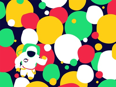 Space 03 psychedelic flat astronaut space illustration