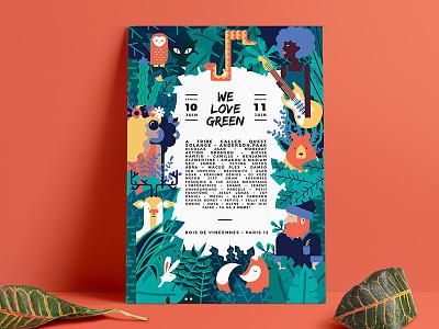 We Love Green we love green illustration green bear deer fox forest jungle festival music poster