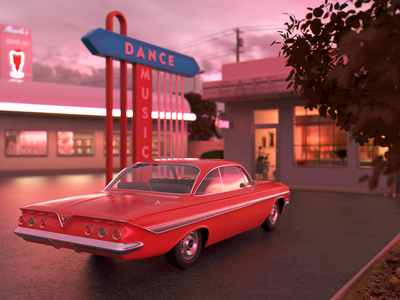 Back to the past dance car chevrolet redshift c4d 3d