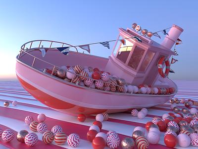 Sugar boat balls ship boat redshift c4d