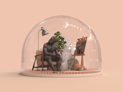 The self is an illusion rug vase cap glass redshift c4d