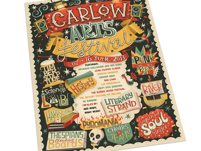 Carlow Arts Fest poster poster illustration hand drawn type hand lettering punk fun